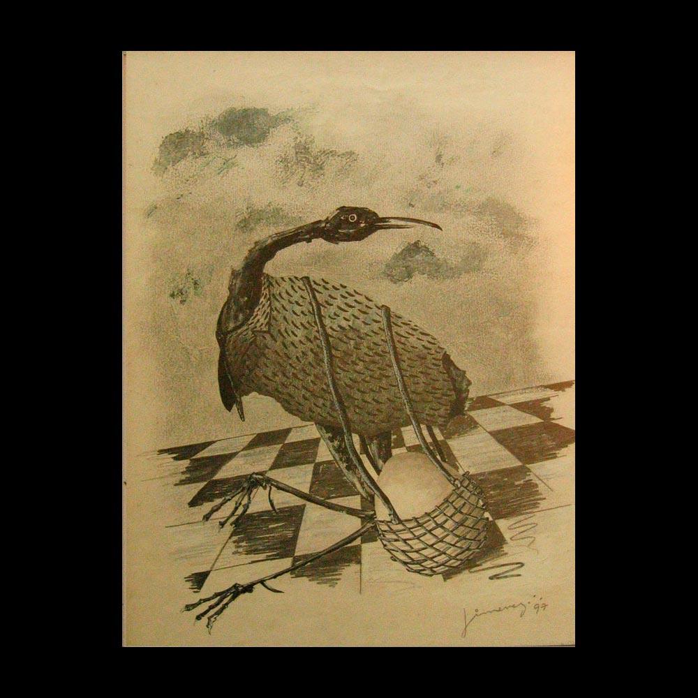 El viaje, dibujo a lápiz, obra del Artista Plástico Roberto Jiménez Hidalgo, autor del Liberfreeden