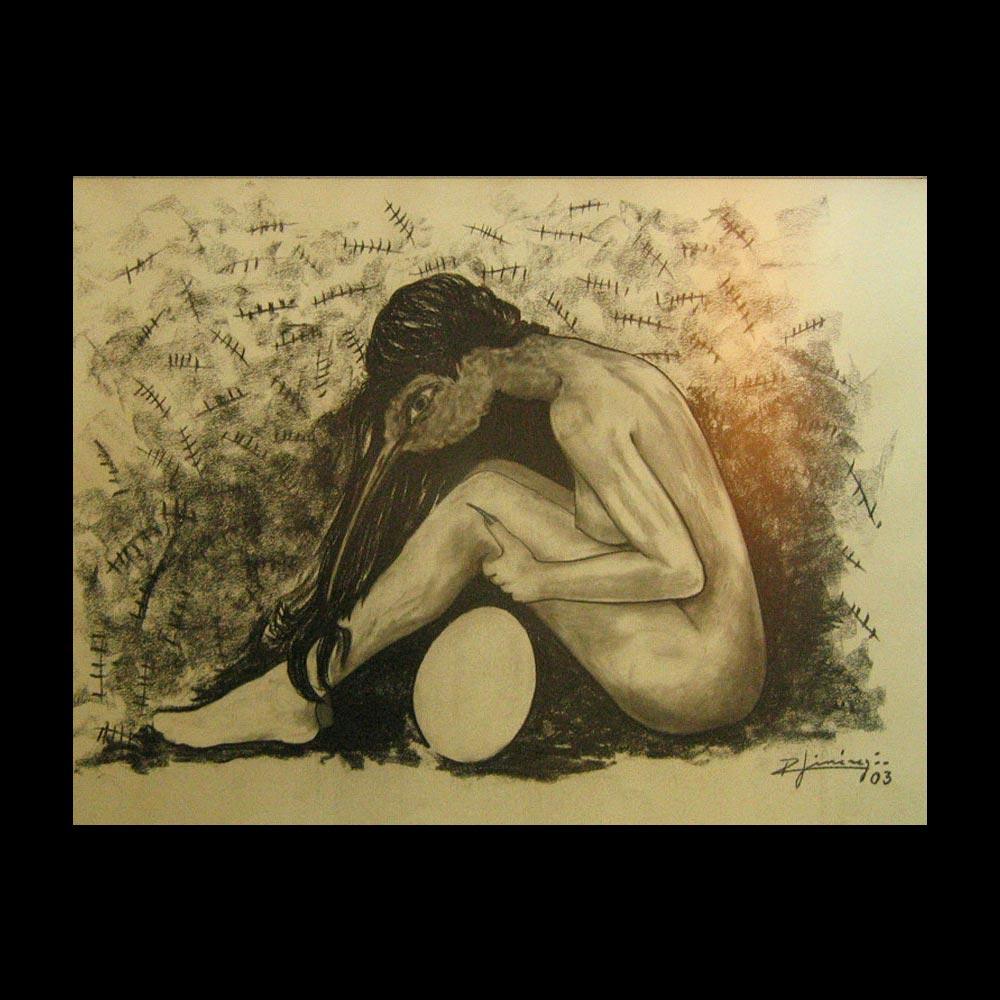 "dibujo ""mujer mutante"" boceto del artista Roberto Jiménez, creador del Liberfreeden"
