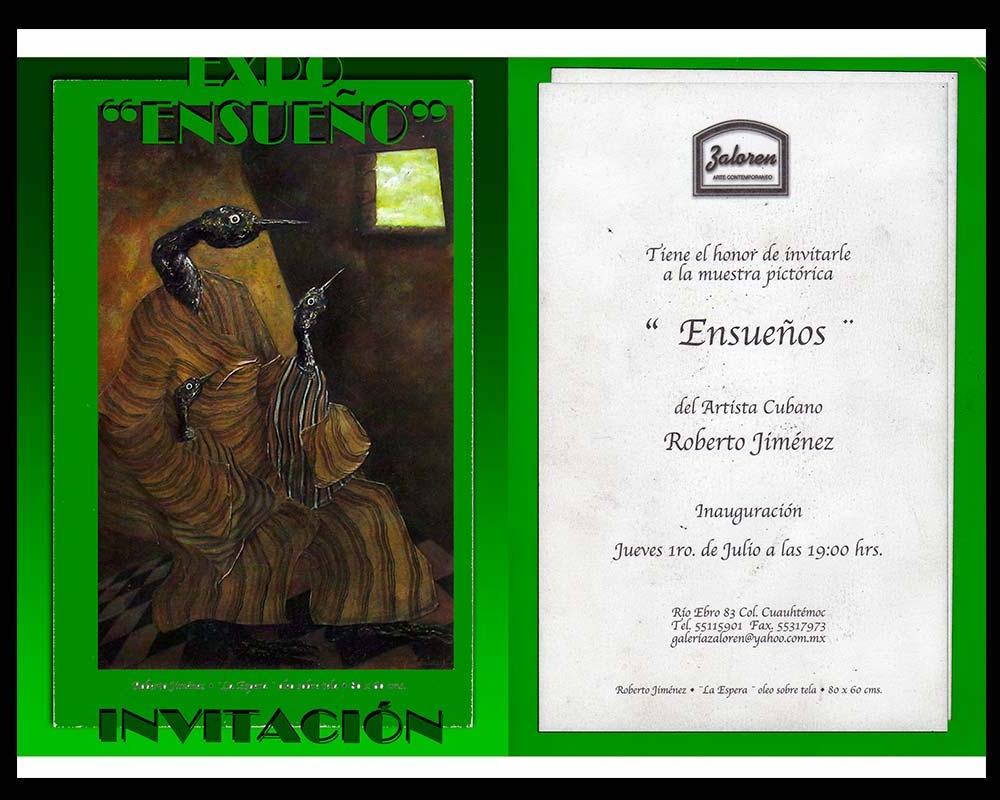 Portada de la invitación a la Exposición Ensueño del Artista Plástico Roberto Jiménez Hidalgo de la Expo Ensueño del Artista Plástico Roberto Jiménez Hidalgo