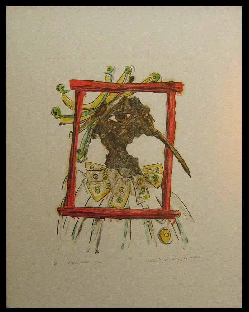 Obra Pregonero 1 del Artista Plástico Roberto Jiménez Hidalgo técnica grabado