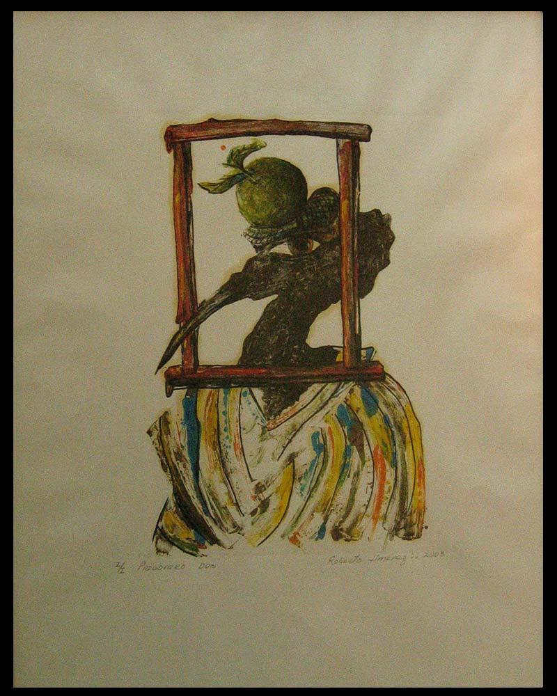 Obra Pregonero 2 del Artista Plástico Roberto Jiménez Hidalgo técnica grabado