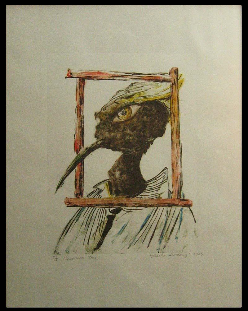 Obra Pregonero 3 del Artista Plástico Roberto Jiménez Hidalgo técnica grabado