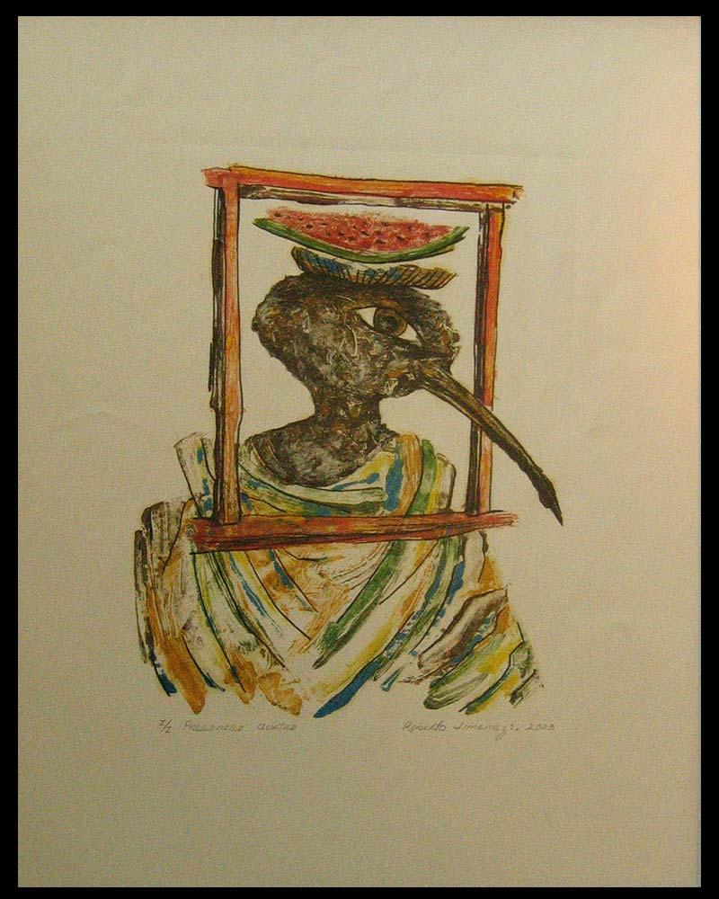Obra Pregonero 4 del Artista Plástico Roberto Jiménez Hidalgo técnica grabado