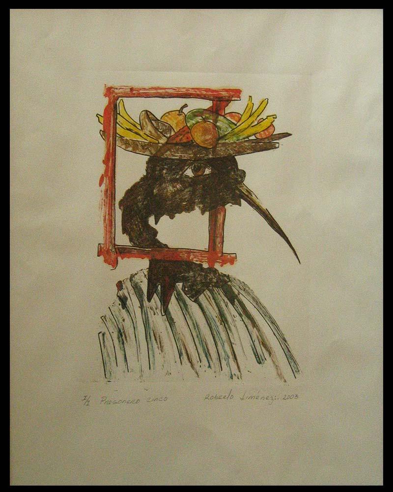 Obra Pregonero 5 del Artista Plástico Roberto Jiménez Hidalgo técnica grabado