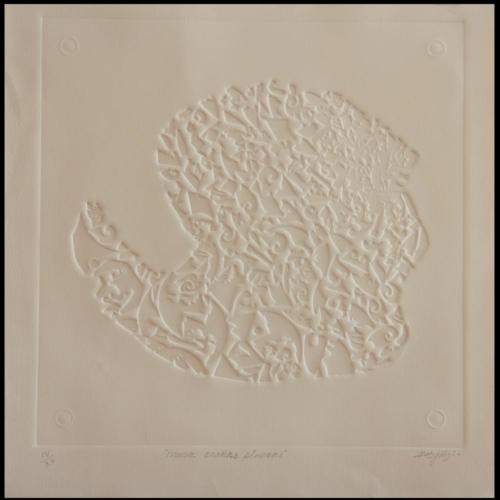 Obra Musa Arañas Pineras Grabado del Artista Plástico Roberto Jiménez Hidalgo, Isla de pinos, Isla de la Juventud