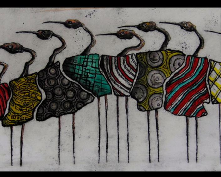 Monotipia Liberfreeden en Pasarela, Obra del Artista Roberto Jiménez