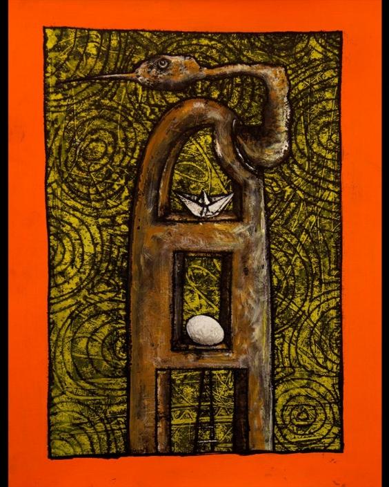 Liberfreeden un Sueño Profundo, monotipia, obra del Artista Roberto Jiménez