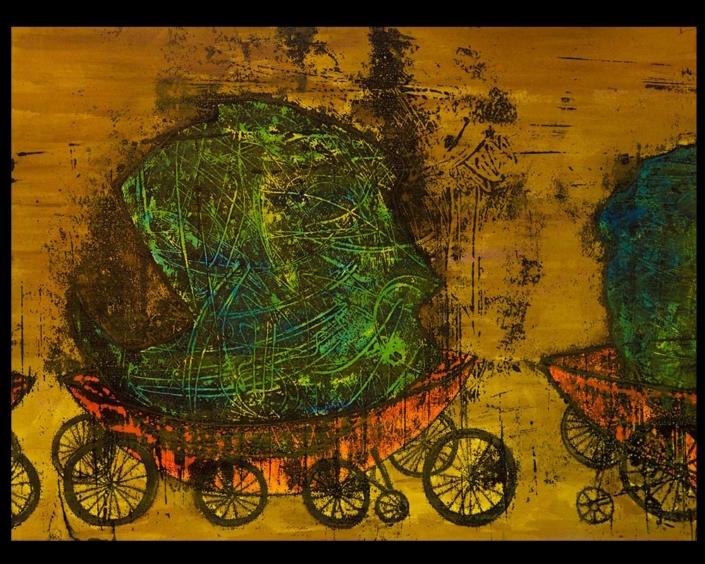 Monotipia Fragmento con ruedas, obra del Artista Roberto Jiménez