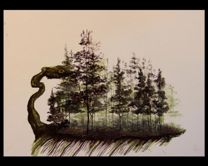 Monotipia Liberfreeden, de la serie Isla con Alas, Obra del Artista Roberto Jiménez