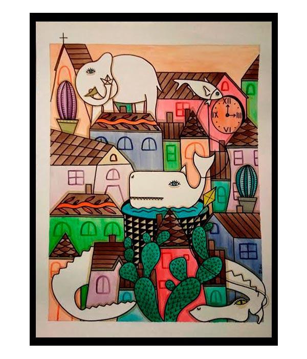 Obra El Pueblo de mis amigos 4, del Artista Davide Mantovani