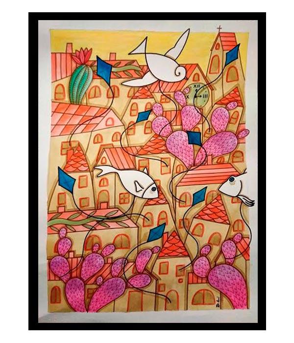 Obra Nopales y Papalotes, del Artista Davide Mantovani