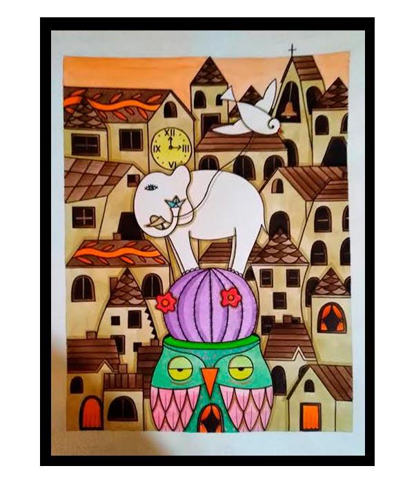 Obra, Un búho, un cactus, un elefante y su papalote, del Artista Davide Mantovani