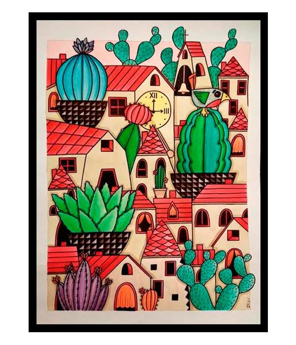 Obra, El Gran Pueblo de los Cactus, del Artista Davide Mantovani