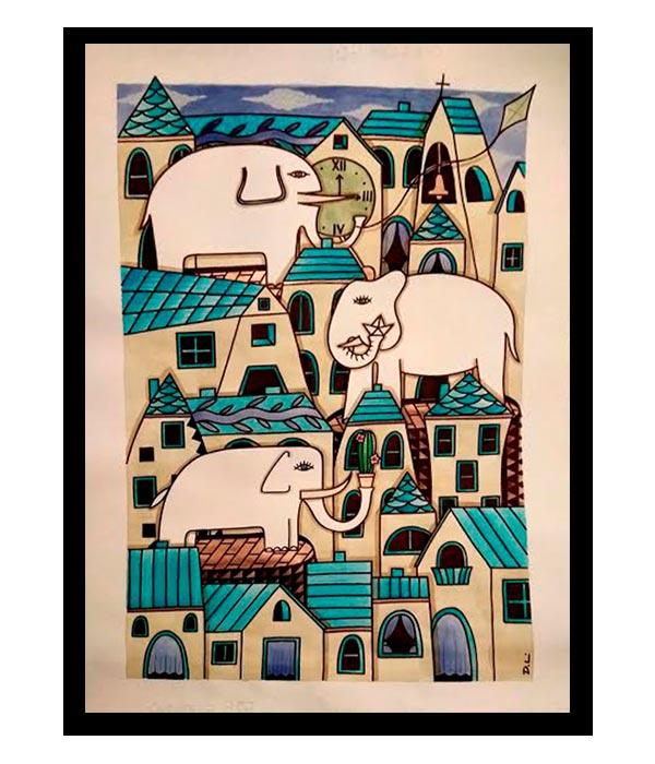 Obra, El Pueblo de los Elefantes, del Artista Davide Mantovani