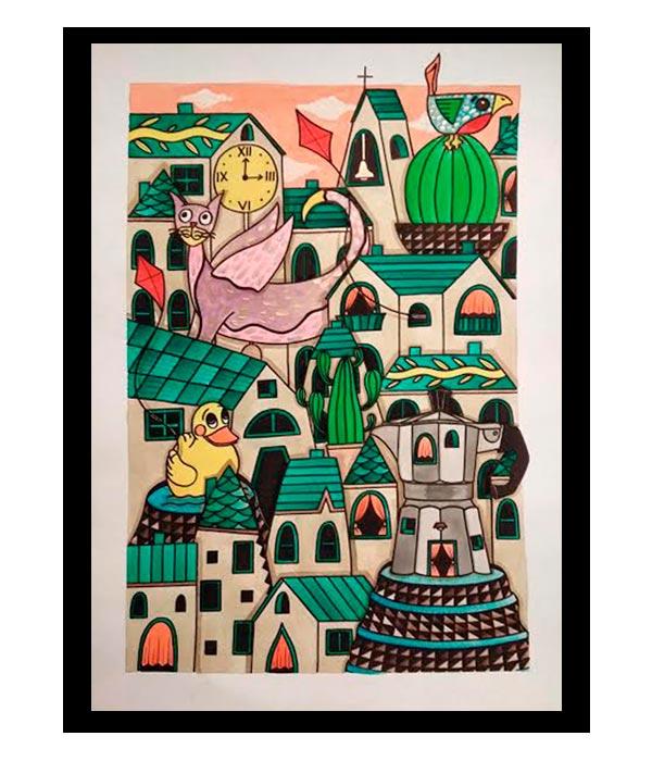 Obra, El Pueblo de mis Amigos 3, del Artista Davide Mantovani
