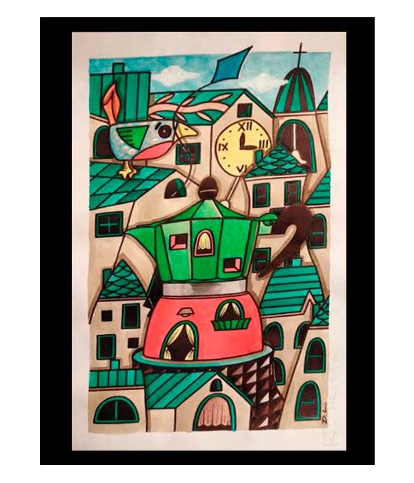 Obra, Pequeño Pueblo con aroma a café, del Artista Davide Mantovani