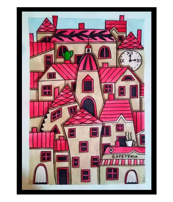 Obra Pueblo Retro en rojo, del Artista Davide Mantovani