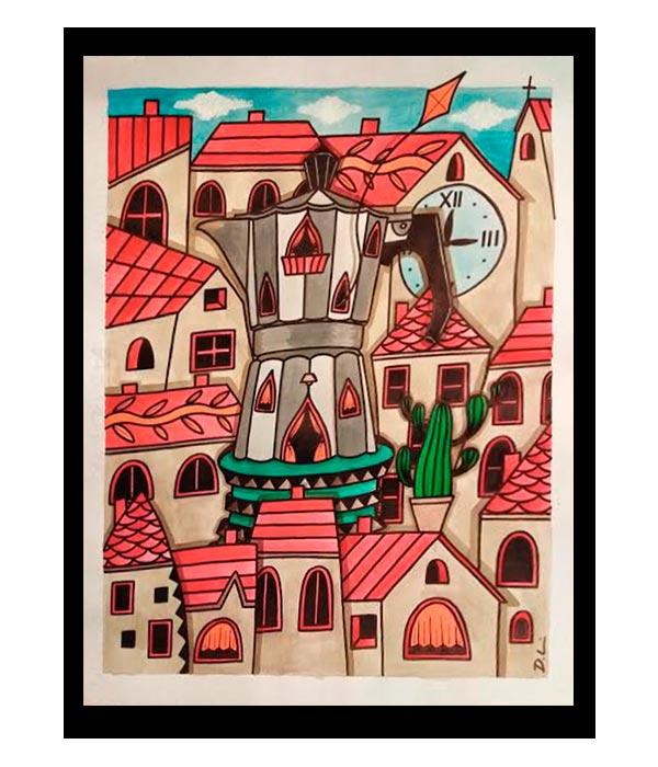Obra, El Pueblo con antiguo aroma a café, del Artista Davide Mantovani