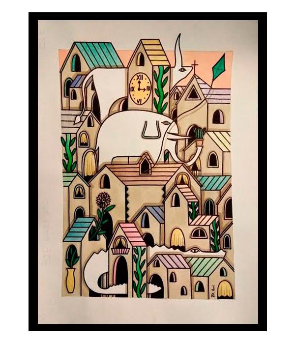 Obra, El Pueblo Pastel, del Artista Davide Mantovani