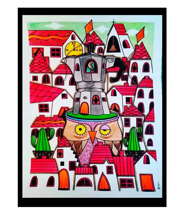 Obra, Gran Pueblo con aroma a café, del Artista Davide Mantovani