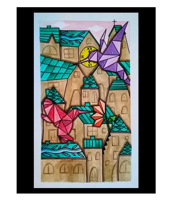 Obra, Colibríes de Papel, del Artista Davide Mantovani