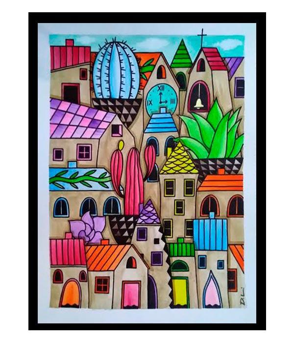 Obra, El Pueblo de los Cactus del Artista Davide Mantovani