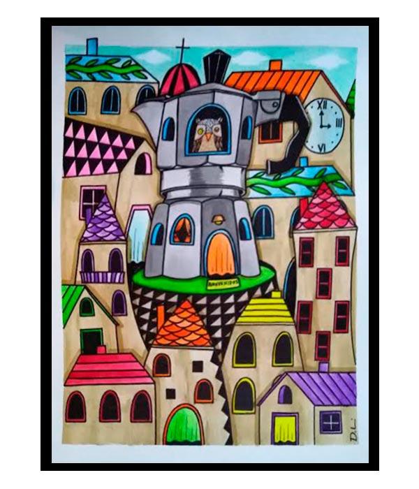 Obra, El Pueblo con aroma a café y un búho del Artista Davide Mantovani