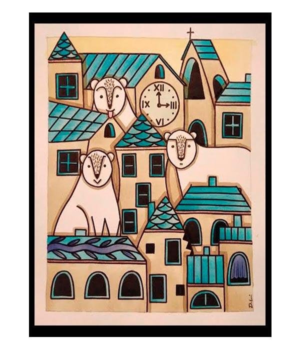 Obra El Pueblo de los osos, del Artista Davide Mantovani