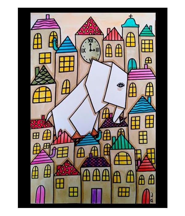 Obra Elefante de papel, del Artista Davide Mantovani