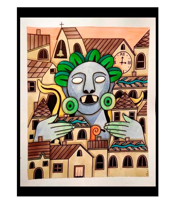 Obra El Pueblo de Xochipilli, del Artista Davide Mantovani