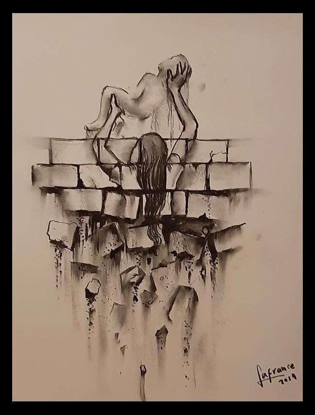 Obra Sin Título, medidas 35 x 43 cm, del Artista Jabriel Lafrance Johnson