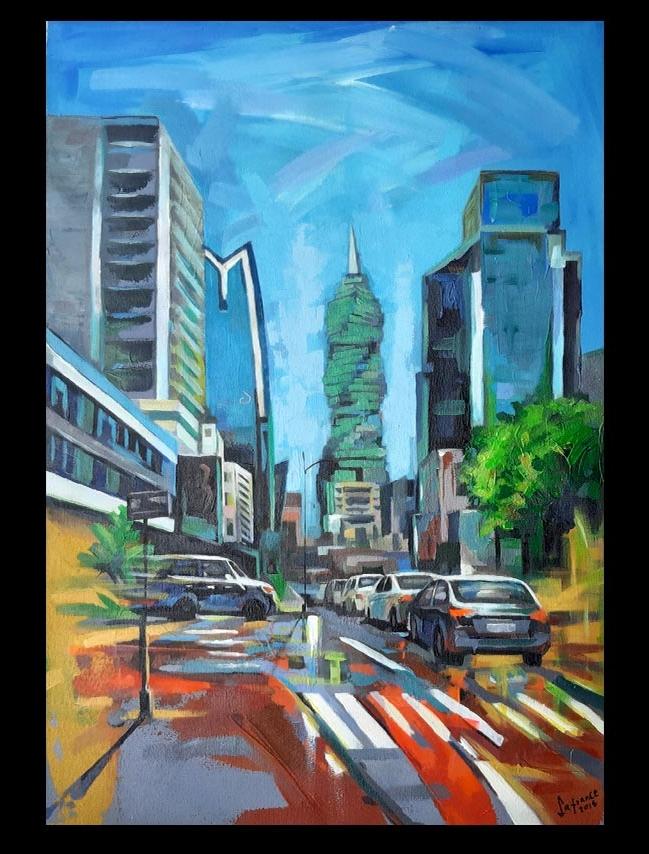 Obra Panamá City, medidas 50 x 74 cm, del Artista Jabriel Lafrance Johnson