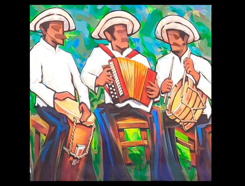 Obra Santeños de Panamá, medidas 170 x 140 cm del Artista Jabriel Lafrance Johnson