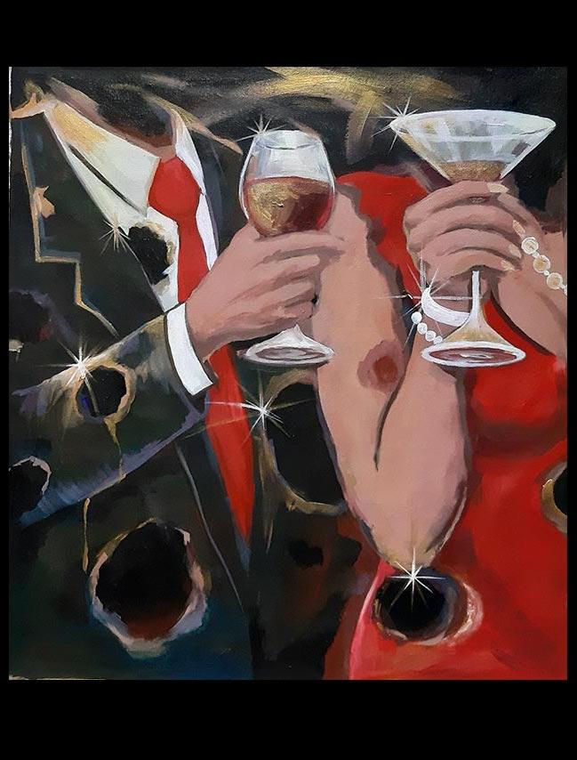 Obra La último brindis, medidas 61 x 43 cm del Artista Jabriel Lafrance Johnson