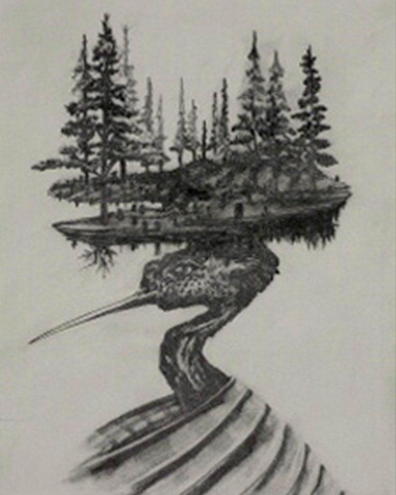 Obra, Isla con Alas 9 del Artista Roberto Jiménez Hidalgo
