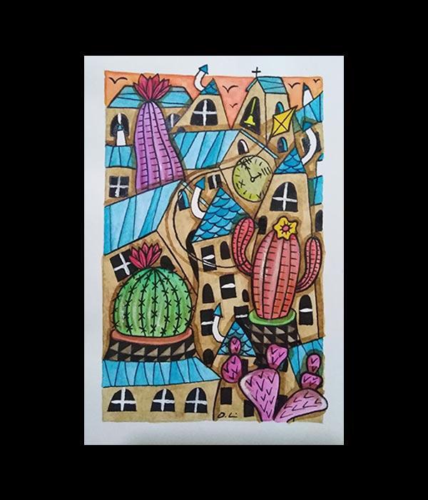 Obra, Pequeño caótico en azul y unos cactus, de Davide Mantovani