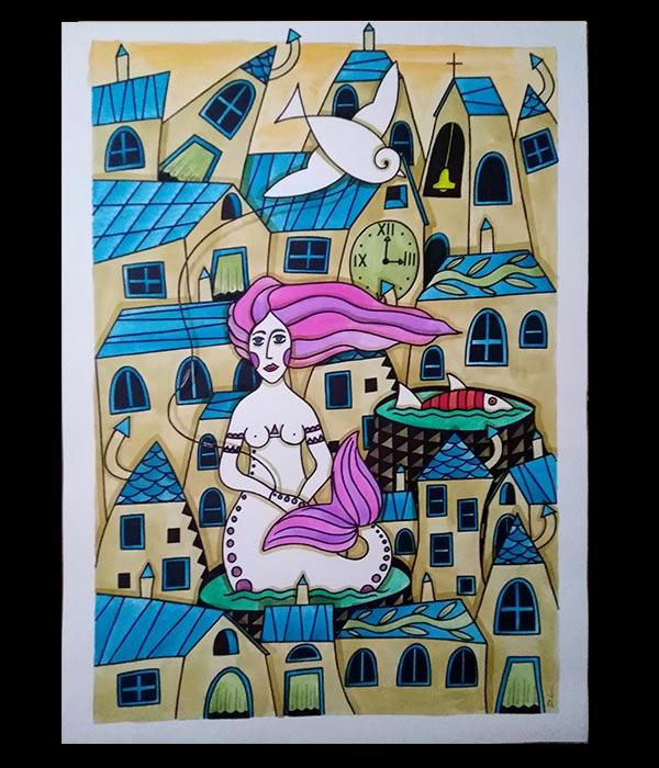 Obra, La Sirena, su pez mascota y su papalote de Davide Mantovani