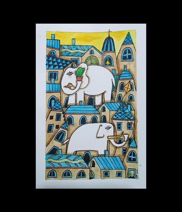 Obra, El pequeño pueblo de los elefantes, de Davide Mantovani